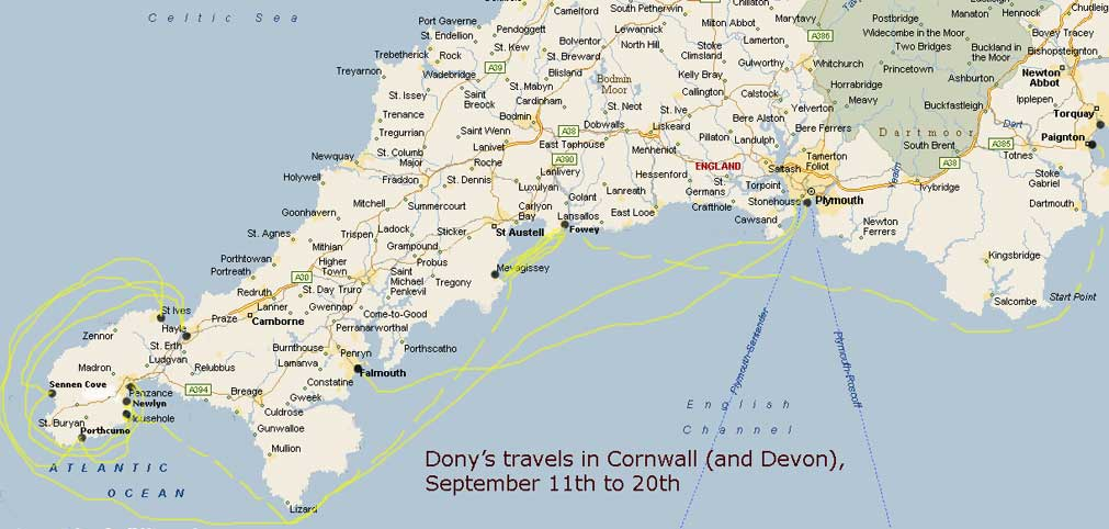 map of devon.  zig-zagging around in a way I haven't managed to clarify with this map!